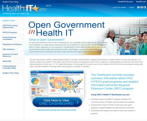 Access the Open Government Dashboard for Health IT web site
